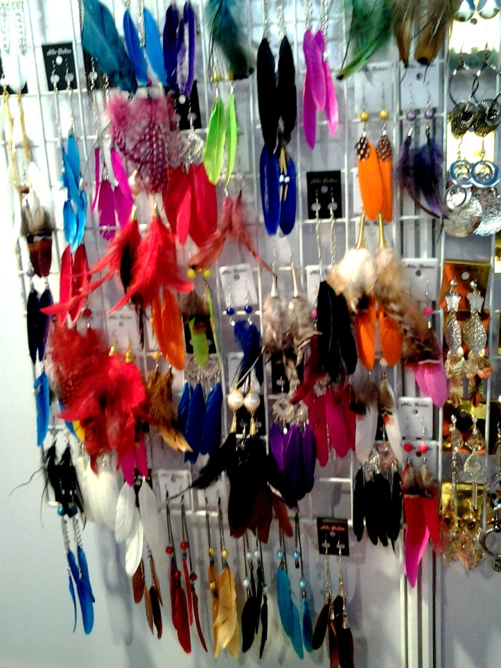 Feather earrings from Thailand