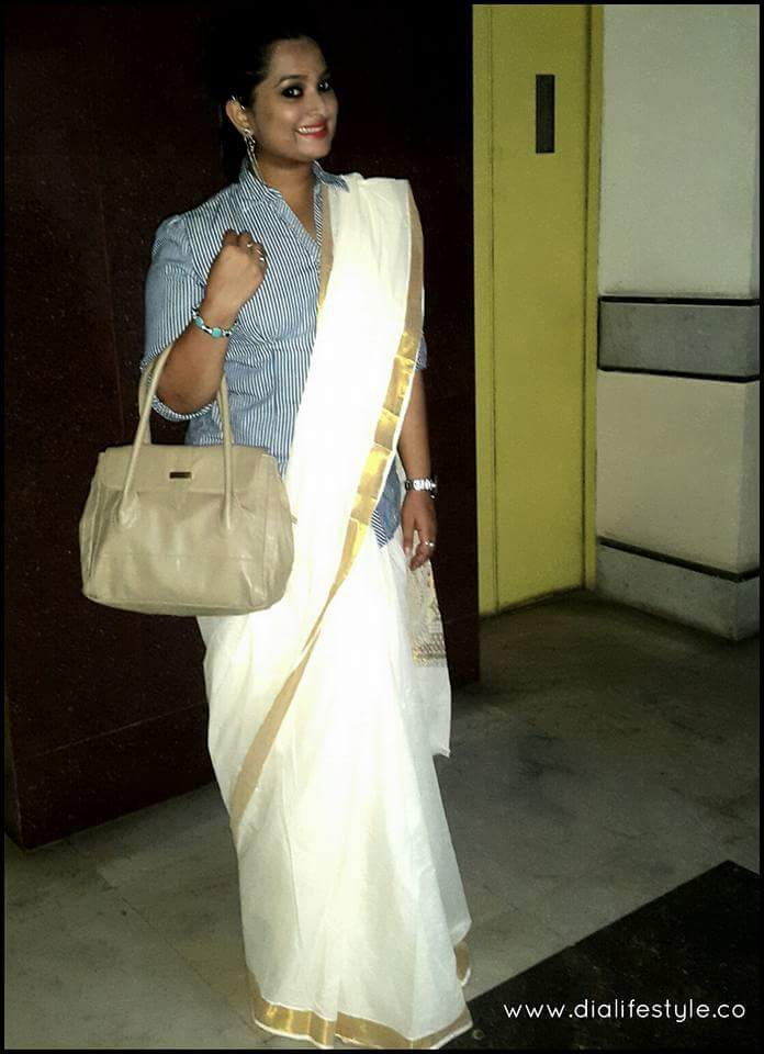 Sari: Local Boutique | Shirt: Scullers | Bag: Flipkart | Ear-cuff & Shoes: Thrifted