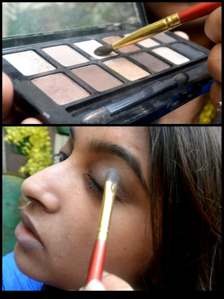 Cover the entire lids with a base shade, till the base of the eye-brows